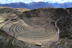 Moray (Quechua), Peru. Moray is an archaeological site about 50 km of Cuzco, speculation is this represent an Inca agriculture experimental station organised on Stock Photography