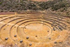Moray ruïneert de Peruviaanse Andes Cuzco Peru stock afbeeldingen