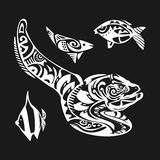 Moray tattoo in Maori style on a white background. Vector illustration EPS10. Moray  tattoo in Maori style on a white background. Vector illustration EPS10 Stock Image