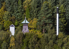 Morays hidden distillery. This is the strategic point of the Speyburn Distillery at Rothes, Moray, Scotland. This is the turning of Autumn. The distillery makes stock image