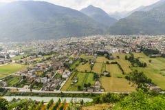 Morbegno, panorama Royalty-vrije Stock Fotografie