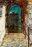 Morbid door of the lighthouse of Collioure, France Stock Images