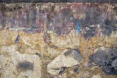 Morbid wall. Red, yellow, blue, grey morbid wall Stock Photo