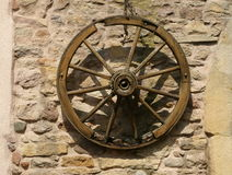 Morbid wooden wheel. In Alsace Stock Images