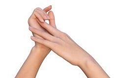 Morbidamente toccare le mani femminili Fotografia Stock Libera da Diritti