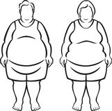 Morbidly Obese People. Vector Illustration of a man and woman who are morbidly obese (over 100 pounds overweight royalty free illustration