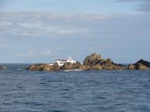 Morbihan - Ile aux Oiseaux i łódź obrazy stock