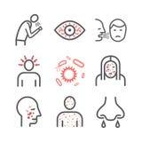 morbillo Sintomi, trattamento Linea icone messe Segni di vettore illustrazione di stock