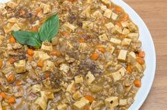 Morbo-tofu (den kryddiga fulla anstrykningtofuen) Royaltyfri Foto