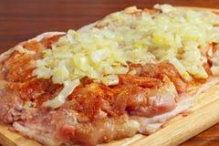 Morceau cru de poulet avec des épices Photo stock