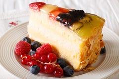 Morceau délicieux de gelée de gâteau de fruit d'un plat horizontal image libre de droits