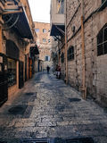 Morceau d'histoire - la route sainte que notre sauveur a faite dans la ville de Jérusalem Photographie stock libre de droits