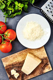Morceau d'un parmesan et d'un fromage râpé photographie stock libre de droits