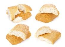 Morceau de ciabatta, pain italien d'isolement sur le fond blanc Photo libre de droits