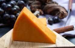 Morceau de fin orange dure de fromage de cheddar  photo stock