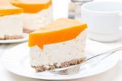 Morceau de gâteau au fromage avec la gelée de potiron photo libre de droits