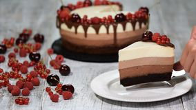 Morceau de gâteau délicieux de mousse de chocolat trois décoré de la baie fraîche banque de vidéos