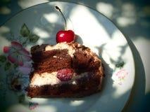 Morceau de gâteau de cerise avec de la crème Images stock