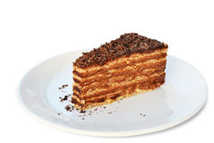 Morceau de gâteau de chocolat Images libres de droits