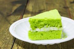 Morceau de gâteau pandan Images libres de droits