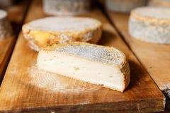 Morceau de jeune tête molle de fromage de chèvre avec le moule Photographie stock libre de droits