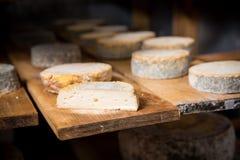 Morceau de jeune tête molle de fromage de chèvre avec le moule Photo libre de droits