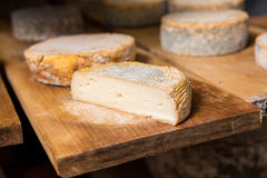 Morceau de jeune tête molle de fromage de chèvre avec le moule Images stock