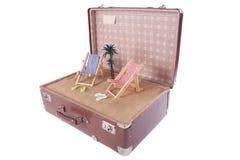 Morceau de la plage avec un palmier dans une vieille valise Photographie stock