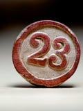 Morceau de loto de vintage du numéro 23 Images stock