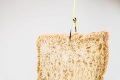Morceau de pain blanc accrochant sur un hameçon Image libre de droits