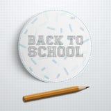 Morceau de papier de cercle avec de nouveau au texte d'école Images stock