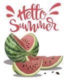 Morceau de pastèque avec l'été d'inscription bonjour Illustration avec le fruit juteux Dessin avec le symbole de l'été Image libre de droits