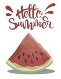 Morceau de pastèque avec l'été d'inscription bonjour Illustration avec le fruit juteux Dessin avec le symbole de l'été Photo libre de droits