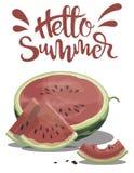 Morceau de pastèque avec l'été d'inscription bonjour Illustration avec le fruit juteux Dessin avec le symbole de l'été Photographie stock libre de droits