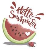 Morceau de pastèque avec l'été d'inscription bonjour Illustration avec le fruit juteux Dessin avec le symbole de l'été Photo stock