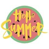 Morceau de pastèque avec l'été d'inscription bonjour Illustration avec le fruit juteux Dessin avec le symbole de l'été Photographie stock
