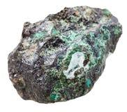 Morceau de pierre minérale de malachite d'isolement Image stock