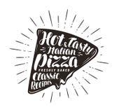 Morceau de pizza, pizzeria, concept d'aliments de préparation rapide À la main lettre ou calligraphie écrite illustration de vect illustration stock