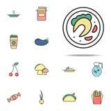 morceau de poissons frits sur l'icône colorée par plat Ensemble universel d'icônes de nourriture pour le Web et le mobile illustration de vecteur