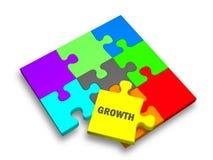 Morceau de puzzle avec la croissance des textes Photographie stock libre de droits