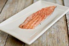Morceau de saumons crus avec des épices Photographie stock