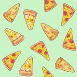 Morceau de tarte ou de pizza peinte dans l'aquarelle avec un contour foncé Photo stock