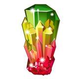 Morceau de tourmaline en cristal cru Vecteur illustration de vecteur