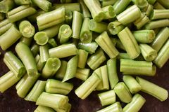 Morceau de tranche de haricots à la cuisine photographie stock