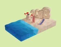 Morceau isométrique plat de plage avec Sandy Christmas Snowman, Beac Photographie stock libre de droits