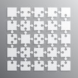 25 morceaux blancs de puzzle denteux Puzzle de vecteur Photographie stock