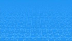 Morceaux bleus de puzzles de perspective - puzzle de vecteur Images stock
