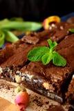 Morceaux carrés de 'brownie' Image libre de droits