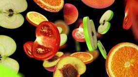 Morceaux coupés en tranches de fruits tombant sur le fond noir, illustration 3d Photos libres de droits