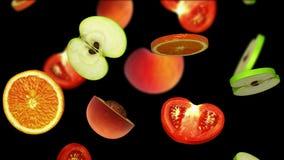 Morceaux coupés en tranches de fruits tombant sur le fond noir, illustration 3d Photographie stock